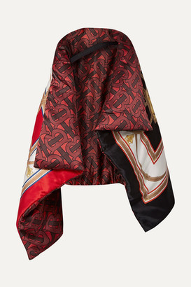 Burberry Printed Mulberry Silk-satin Cape - Red