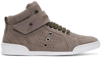 1f59d6b44c4 ... Jimmy Choo Taupe Suede Lewis High-Top Sneakers