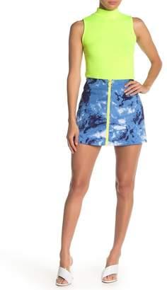 Know One Cares Neon Zip Camo Mini Skirt
