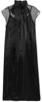 Prada Bow-embellished Silk-organza Midi Dress
