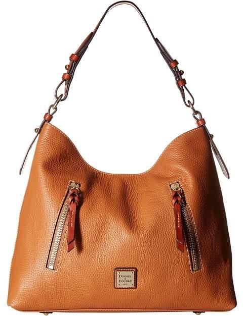 Dooney & Bourke Pebble Cooper Hobo Hobo Handbags - CARAMEL/TAN TRIM - STYLE
