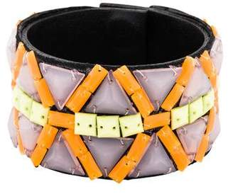 Andrew Gn Beaded Leather Cuff
