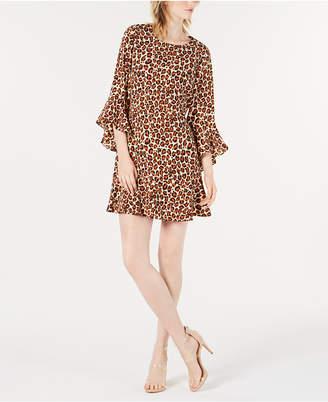 Bar III Bell-Sleeve Cheetah-Print Dress