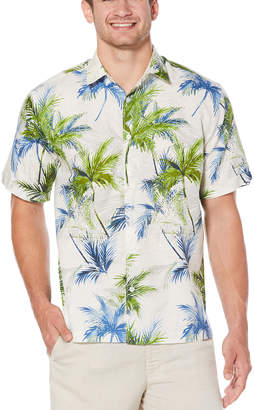Cubavera Big & Tall Geo Textured Palm All Over Printed Shirt