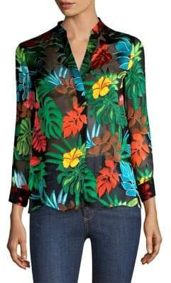 Alice + Olivia Amos Roll-Cuff Floral-Print Blouse