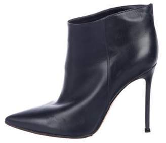 Gianvito Rossi Leather Ankle Boots Navy Leather Ankle Boots