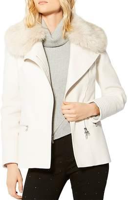 Karen Millen Faux Fur-Collar Moto Jacket