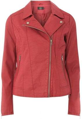Dorothy Perkins Womens **Only Burgundy Faux Leather Jacket