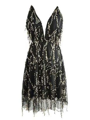 Goodnight Macaroon 'Rolly' Sequin Deep V-Neck Mini Dress (3 Colors)