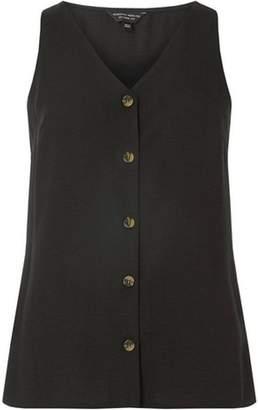 Dorothy Perkins Womens Black Sleeveless Tortoiseshell Button Top