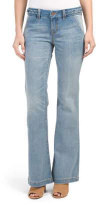 Mid Rise Braid Waist Wide Leg Jeans