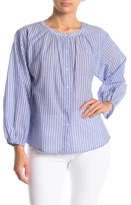 Velvet Pinstripe Collarless Shirt
