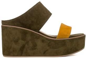 Fabio Rusconi Musk Green/yellow Suede Wedge Sandal