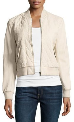 Joe's Jeans Quilted Leather Bomber Jacket, Ecru $498 thestylecure.com
