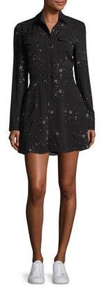 A.L.C. Pedro Long-Sleeve Silk Star Shirtdress, Black $595 thestylecure.com