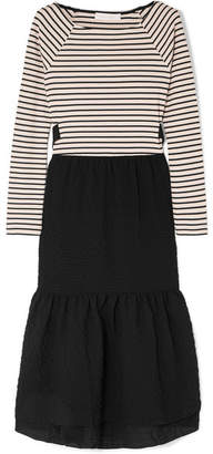 See by Chloe Cotton-seersucker And Striped Jersey Midi Dress - Black