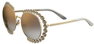 Elie Saab Round Mirrored Sunglasses w/ Stone Stations