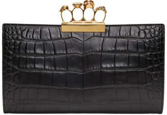 Alexander McQueen Black Four Ring Flat Pouch