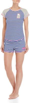Hello Kitty Two-Piece Striped Tee & Shorts PJ Set