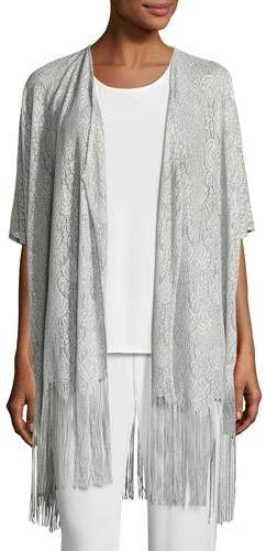 Caroline RoseCaroline Rose Fringe Benefit Crochet Caftan Cardigan, Silver, Petite
