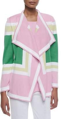 Misook Colorblock Draped Cardigan, Plus Size