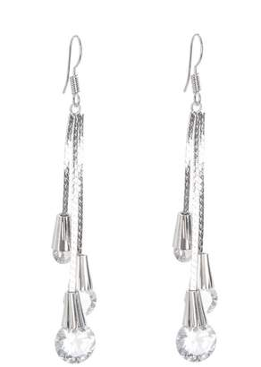Quiz Silver Jewel Drop Tassel Earring