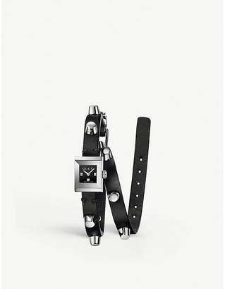 Gucci G Frame stainless steel wrap-around watch