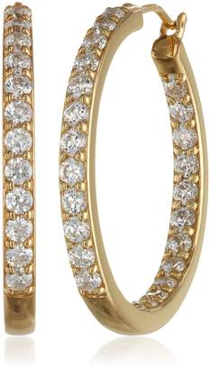 Swarovski Amazon Collection Yellow Gold Plated Sterling Silver Inside-Out Hoop Earrings set with Zirconia (3 cttw)