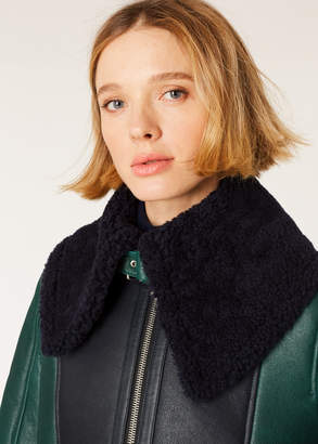 Paul Smith Women's Forest Green And Navy Shearling Aviator Jacket With Boucle Collar