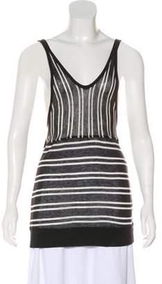 Alexander Wang Striped Sleeveless Top Black Striped Sleeveless Top