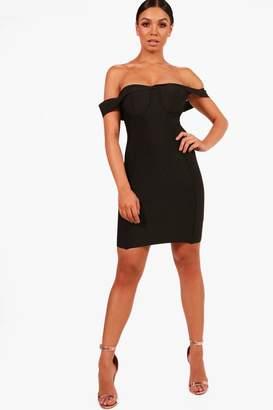boohoo Boutique Premium Bandage Off The Shoulder Dress