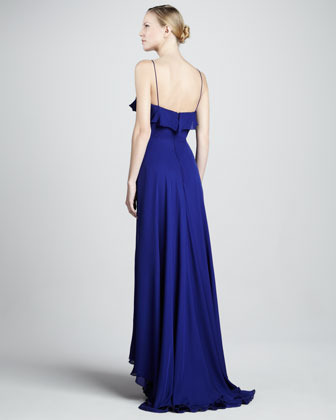 Nicole Miller Spaghetti-Strap High-Low Gown