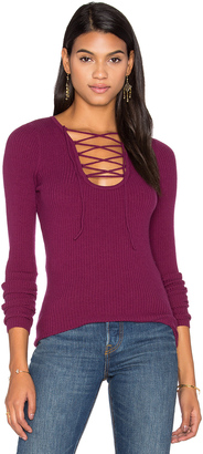 Autumn Cashmere Lace Up Rib Sweater $231 thestylecure.com