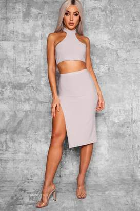 boohoo Izzy Thigh Split High Waist Midi Skirt