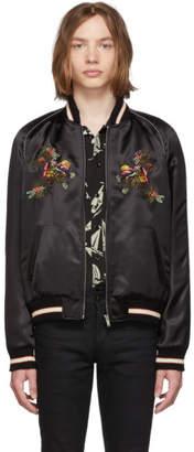 Saint Laurent Black Satin Bomber Jacket