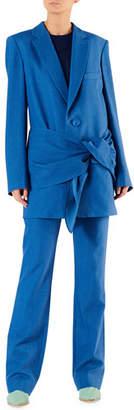 Tibi Linen-Viscose Suiting Belted Long Blazer