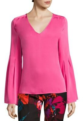 Trina Turk Iolana Resort V-Neck Silk Blouse $258 thestylecure.com