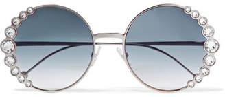 Fendi Round-frame Crystal-embellished Gold-tone Sunglasses - Blue