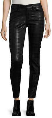 Buffalo David Bitton Plaid Coated Mid-Rise Skinny Jeans $79 thestylecure.com