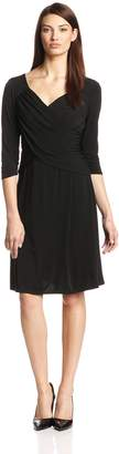 NY Collection Women's B-Slim 3/4 Sleeve Cross Front Dress