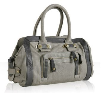 Hype dove grey leather 'Raquel' pocket satchel