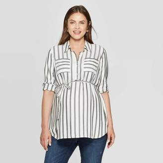 Ingrid & Isabel Isabel Maternity by Maternity Striped Long Sleeve Collared Popover Tunic Top - Isabel Maternity by White/Black