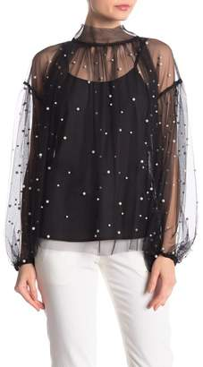 Why Dress Mock Tie Neck Pearl Trimmed Blouse