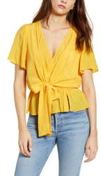 J.o.a. Short Sleeve Wrap Front Blouse