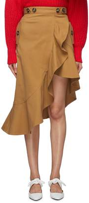 Self-Portrait Asymmetric ruffle hem twill skirt