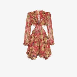 Zimmermann Melody cutout floral-print silk-crepe mini dress