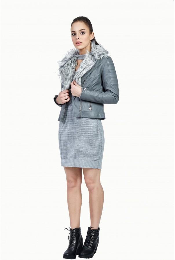 select fashion fashion womens grey fur collar pu biker