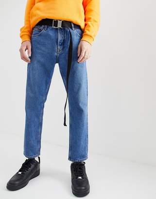 Asos Design DESIGN slim webbing long ended belt in black woven with slider buckle