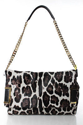 Jimmy Choo New Jimmy Choo Ally Ivory Black Gold Accent Calf Hair Leopard Print Shoulder Bag
