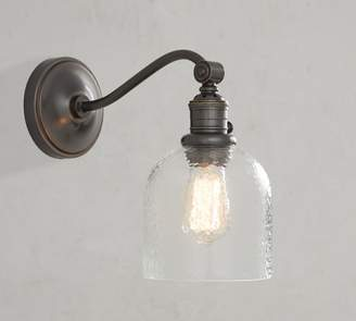Pottery Barn PB Classic Curved Arm Sconce - Textured Glass
